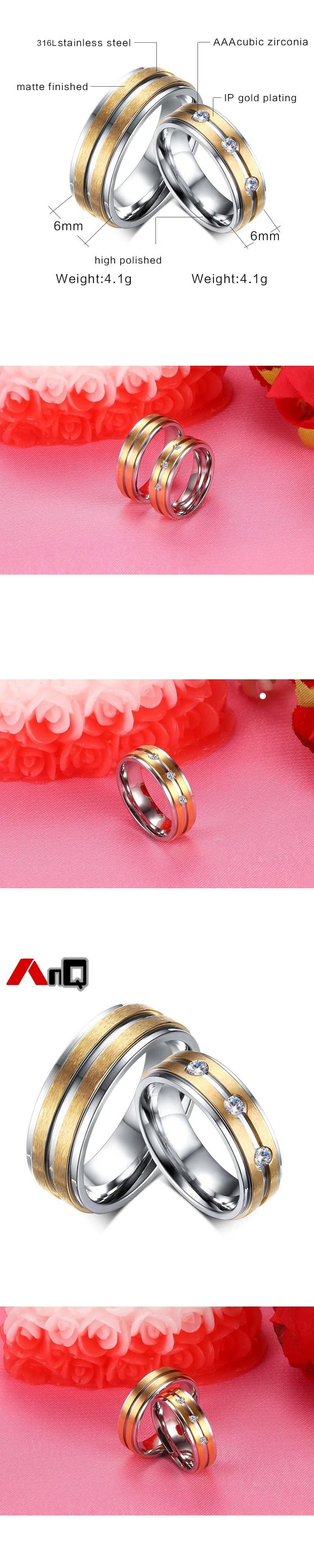 AnQ Vintage 6mm Wide Zircon Couple Titanium Rings Matte Gold Color ...
