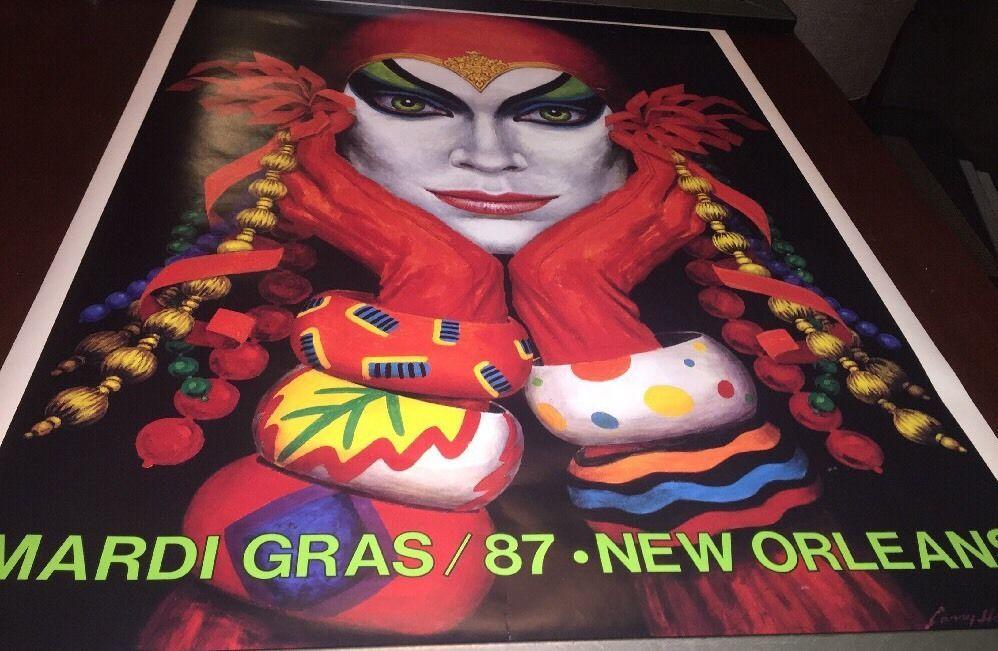 Vintage Original 1987 Mardi Gras Poster/Print Larry Harris