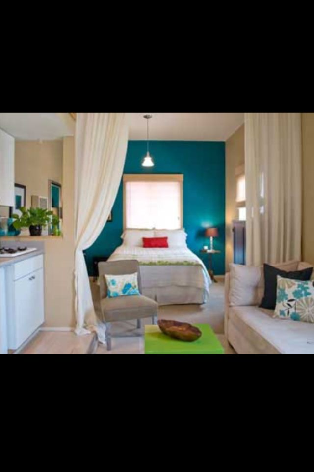 The Curtains Are Perfect For A One Room Apartment Small Apartment And Ideas Apartment Ideas