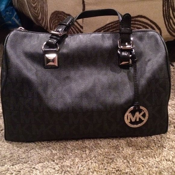 MK Large Black & Gray Grayson and Steve Madden Multi Bronze&Gold Bag...still in good condition. Flaws pictured in pic 4. Feel free to request for pics..will go cheaper off this site. Michael Kors Bags Satchels