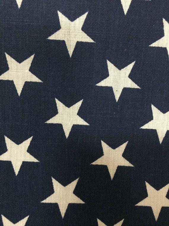 c70f560eb83 Navy Blue American Flag Star Print Poly Cotton Print Fabric - Sold ...