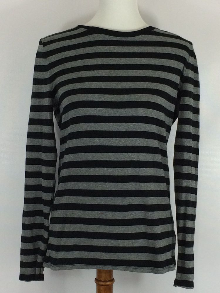0736252a8ac4c Women s Navy and Gray Striped Long Sleeve Shirt Size Large  Merona   LongSleeve