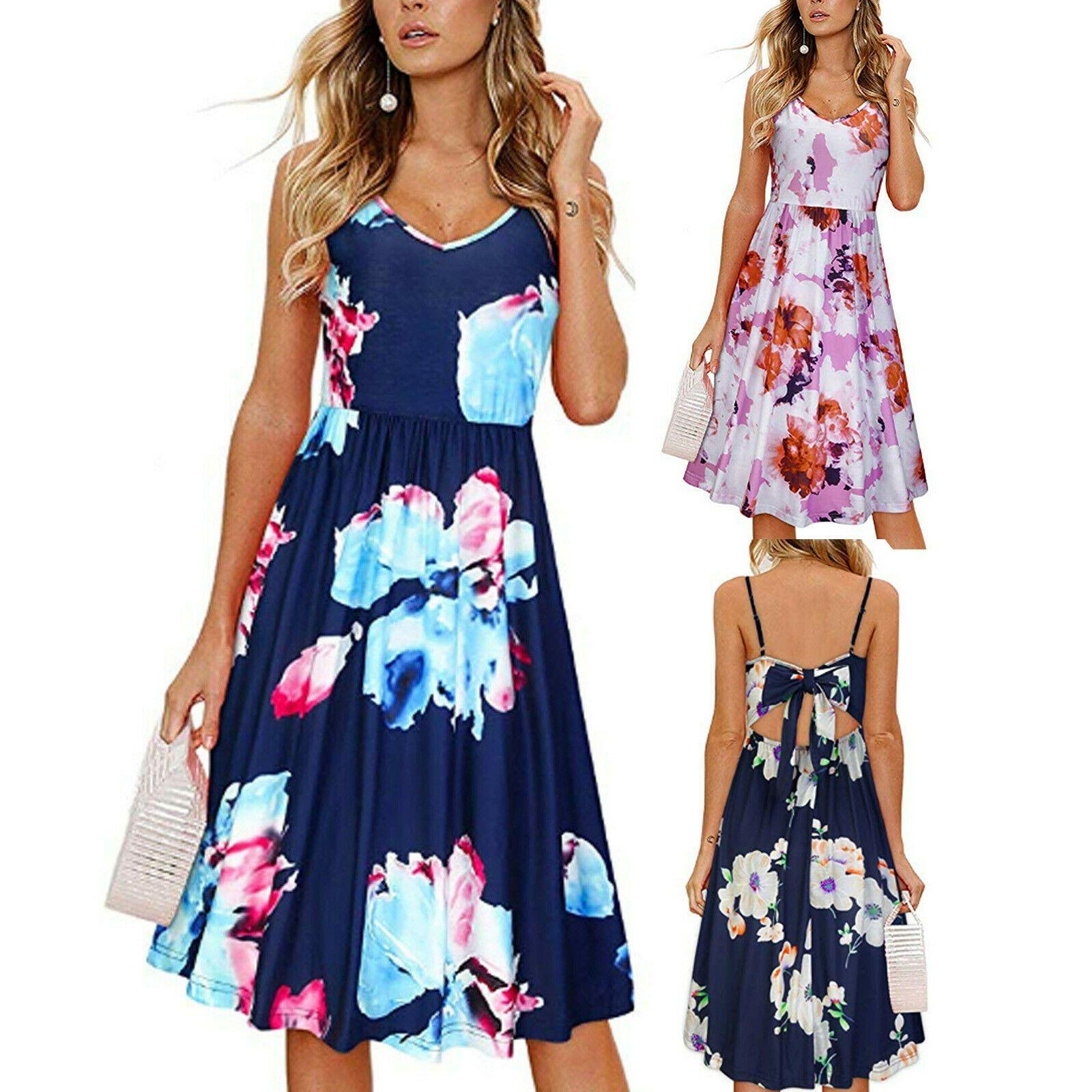 Women Floral Spaghetti Strap Bow Back Short Dress Summer Beach A Line Sundress Sundress Shop For Sundress For Ideas Sundre Dresses Summer Dresses Sundress [ 1600 x 1600 Pixel ]