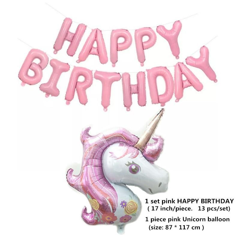 Pink Happy Birthday Letter Balloons.Unicorn Foil Balloons Set Birthday Party Decor Happy