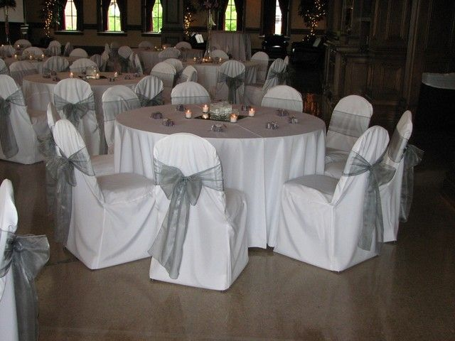 Wedding Chair Covers 1 White Covers and Silver Sashes