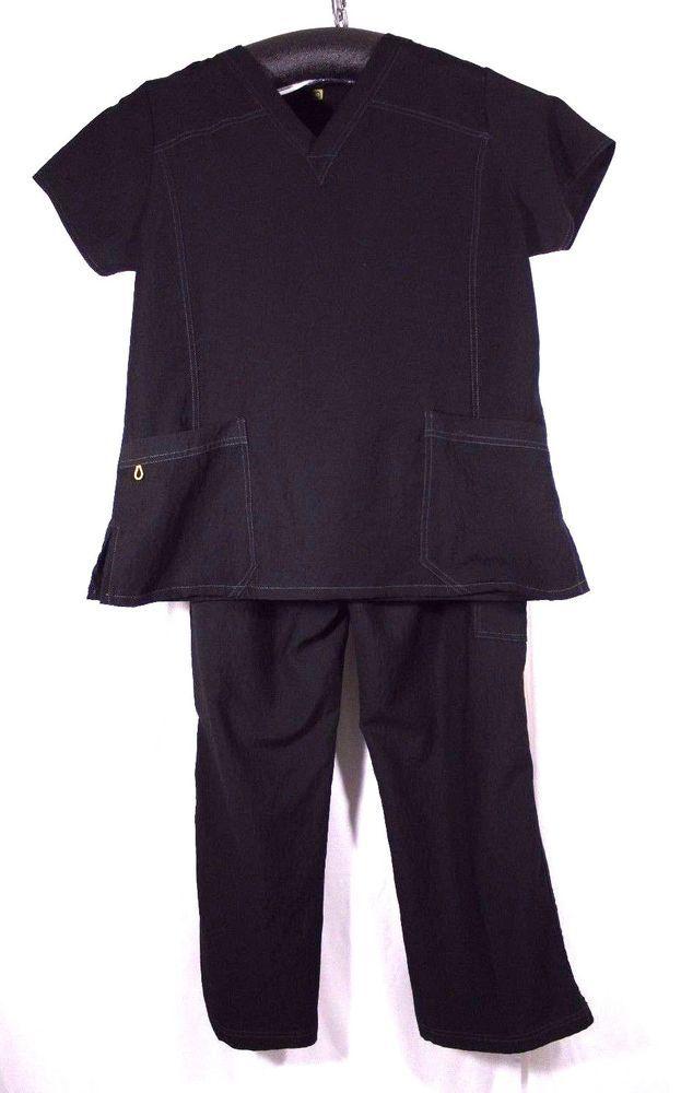 64e54ac9782 2 Piece Set WonderWink Spread Good Cheer XL Women's Scrub Top / Pants Black  #WonderWink