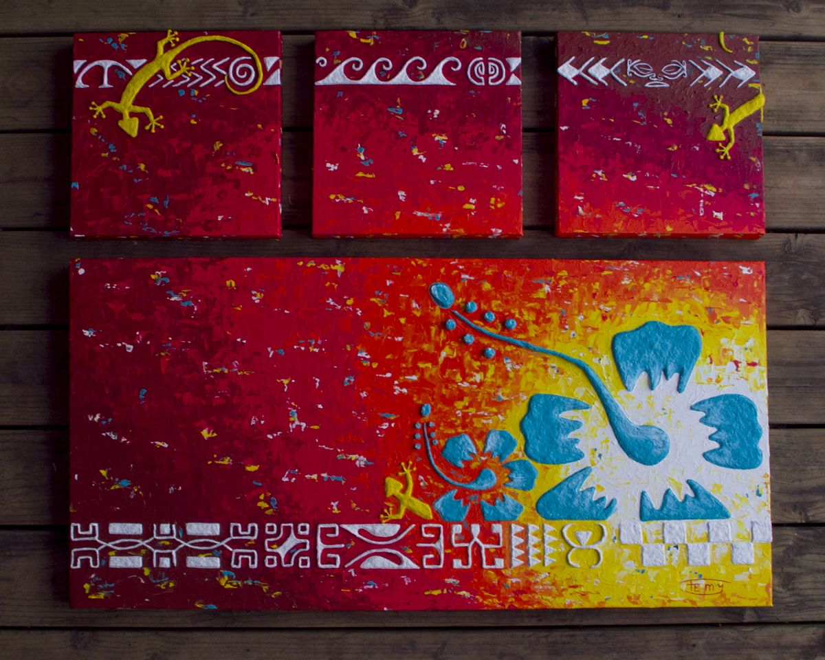 Acrylique sur toile - Motifs en relief - Made in Tahiti