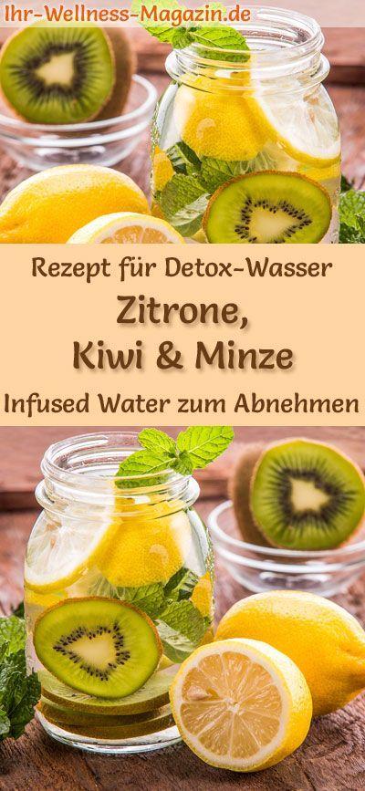 Zitronen-Kiwi-Minze-Wasser - Rezept für Infused Water - Detox-Wasser