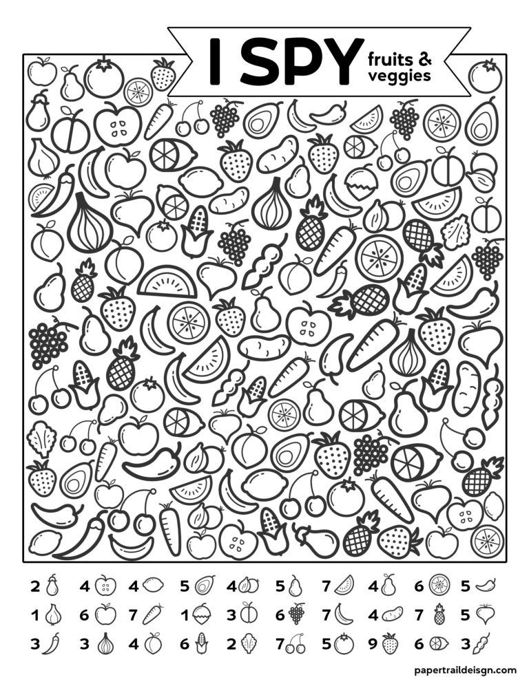 Free Printable I Spy Game - Fruits & Veggies | Paper Trail ...