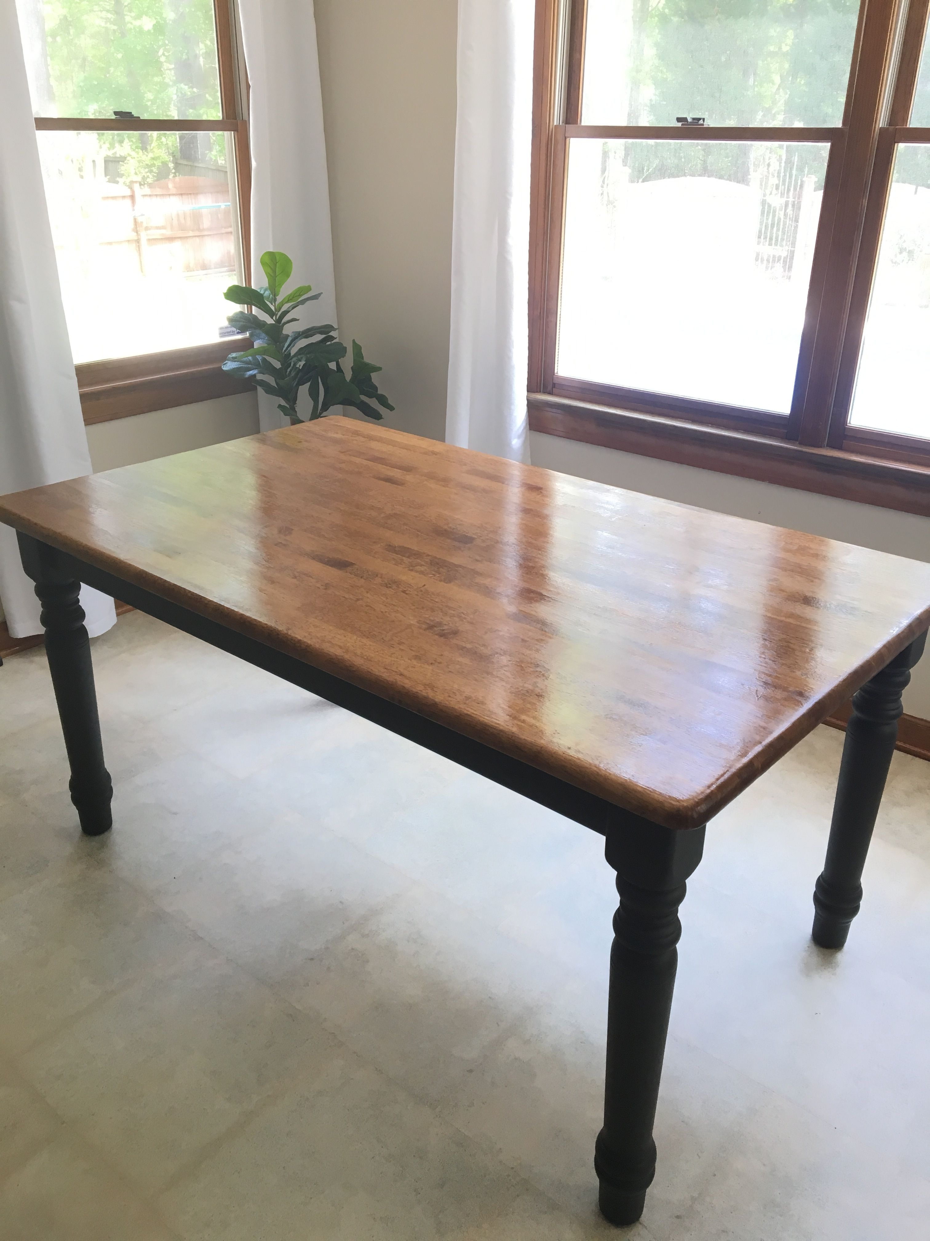 After Bought A Solid Wood Turned Leg Table Fo 30 Sanded Top To Bare Wood And Stained With Minwax Refinishing Furniture Turned Table Legs Furniture Makeover