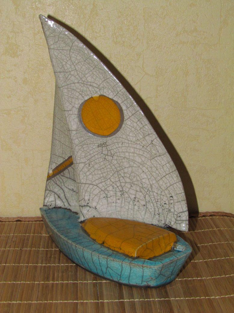 Suclpture raku voilier c ramique gr s jean pierre meyer - Gres ceramique ...