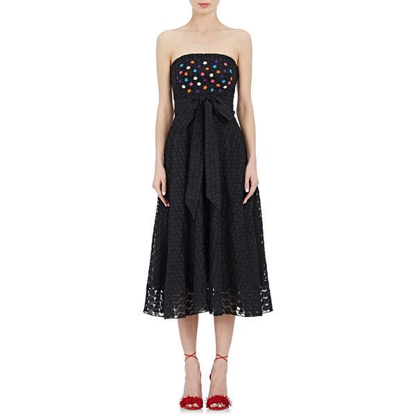 Saloni Women's Charli Strapless Dress ($595) ❤ liked on Polyvore featuring dresses, black, flower dress, multi colored dress, strapless dress, embroidery dress and colorful dresses