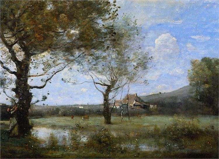 Meadow with Two Large Trees by Jean-Baptiste Camille Corot