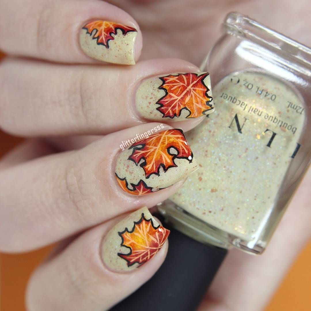 Fall Leaf Nail Art …   Pinteres…