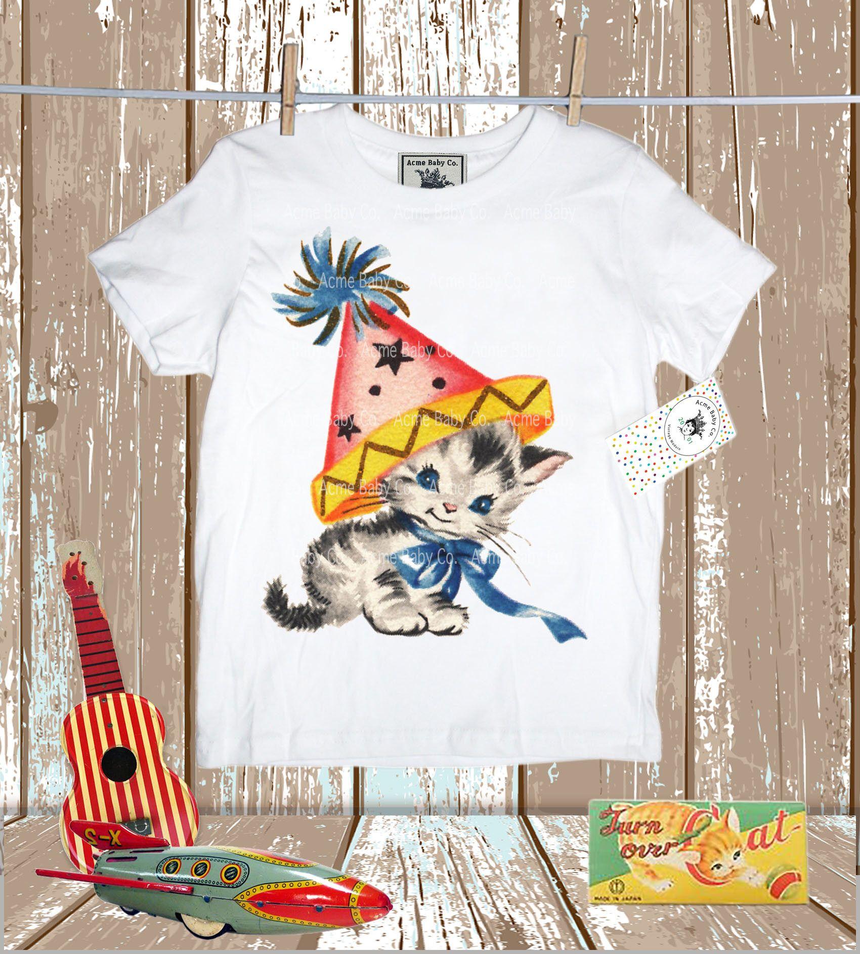 Retro Kitty Cat Birthday Party Shirt. Retro Kitty in Party