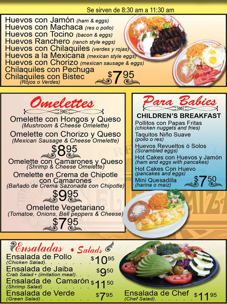 Breakfast Menu Spanish menu, Spanish restaurant, Spanish