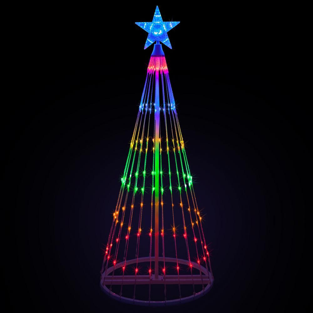 Kringle Traditions 108 In Christmas Multi Color Led Animated Lightshow Cone Tree With 274 Lights And Star Topper 74140 The Home Depot Multi Color Led Decorating With Christmas Lights Diy Christmas Lights