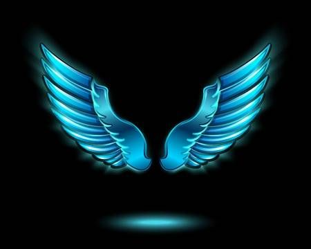 Blue Glowing Angel Wings With Metal Shine And Shadow Symbol Light Background Images Studio Background Images Banner Background Images