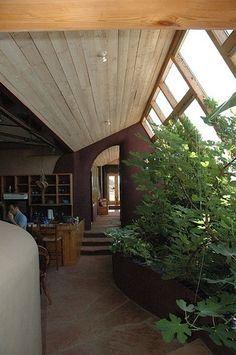 Earthship aka Rammed Earth Tire Dwelling interior planters ... on