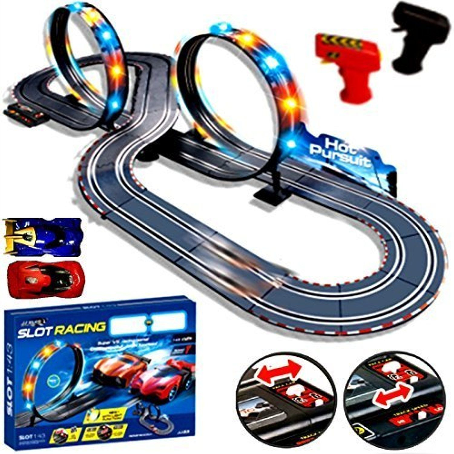 New Remote Control Light Up Slot Car Racing track Kids Toy