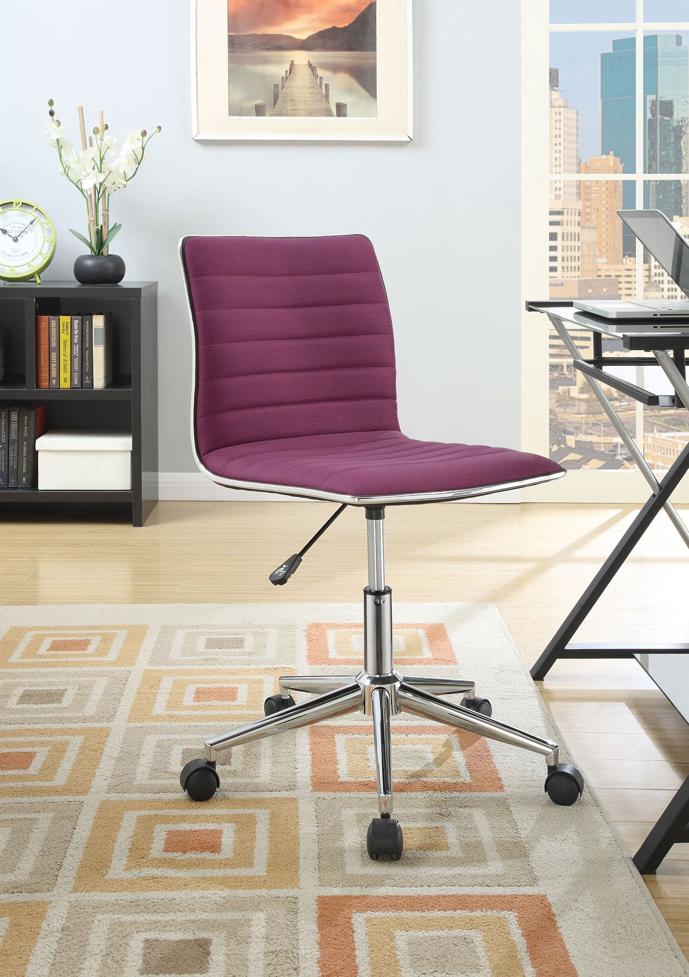 Coaster 800728 purple chrome office chair on casters