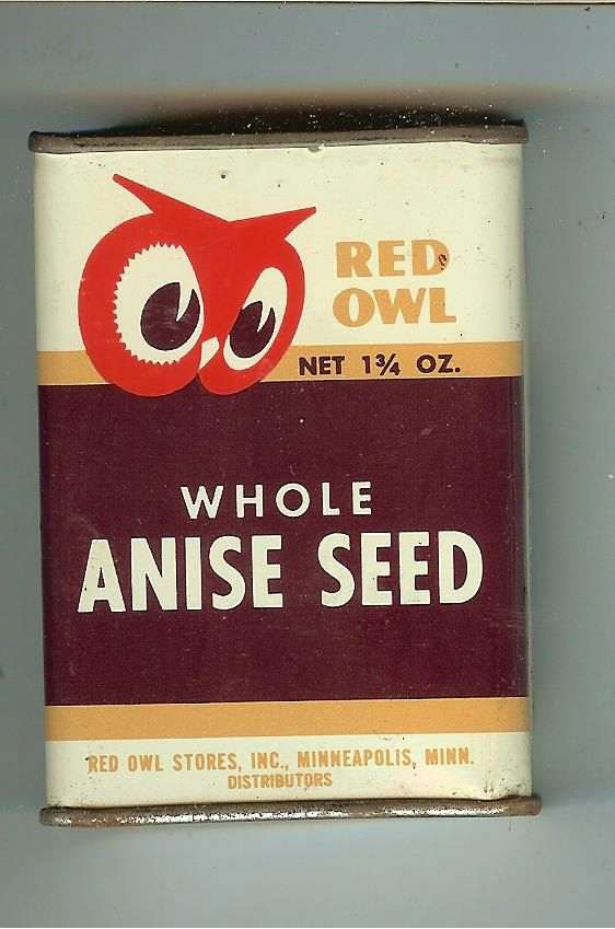 Vintage Red Owl Whole Anise Seed Tin by MuddyRiverAntiques on Etsy, $7.00