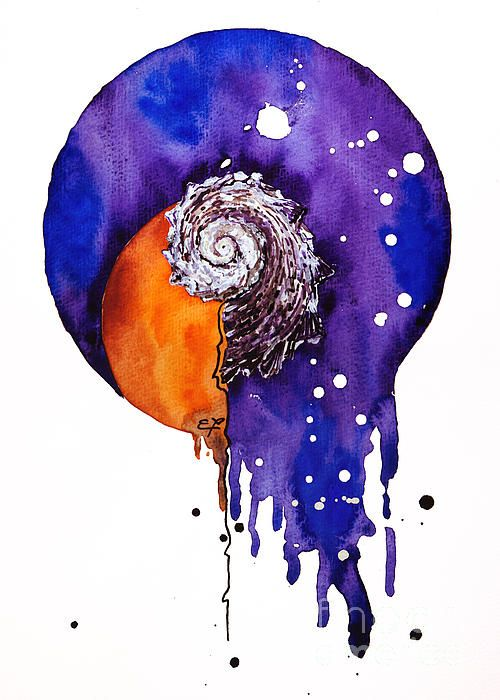 realism, red, vertical, watercolor, yakubovich, yellow, mollusc, mollusk, shell, snail, liquidity, coloring, colour, colouring, sea, island, sun, purple, round, round, sunset,