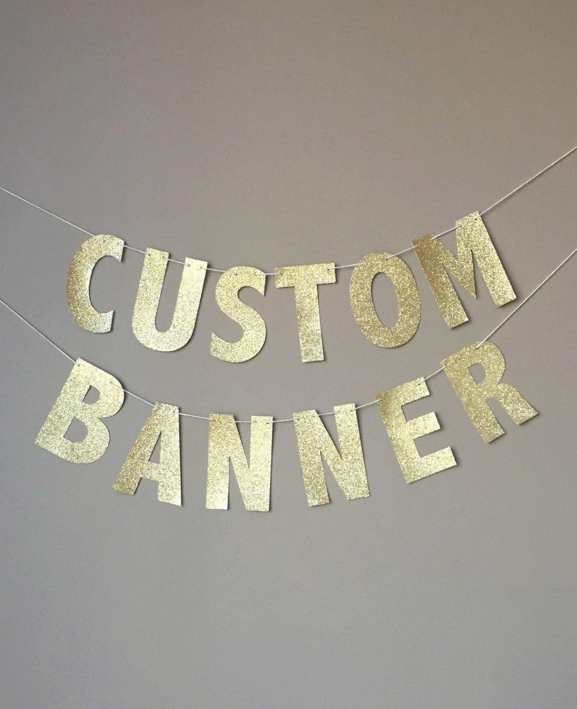 custom gold glitter banner custom birthday banner custom