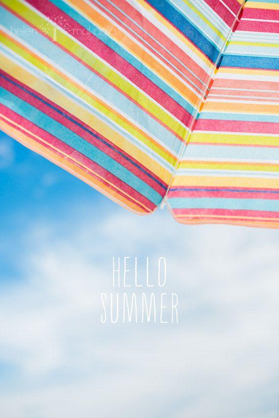Beach Typography Photograph, Blue Sky, Hello Summer, White Clouds,  Inspirational, Relaxation, Summer Sky, Beach House Art, Wall Art