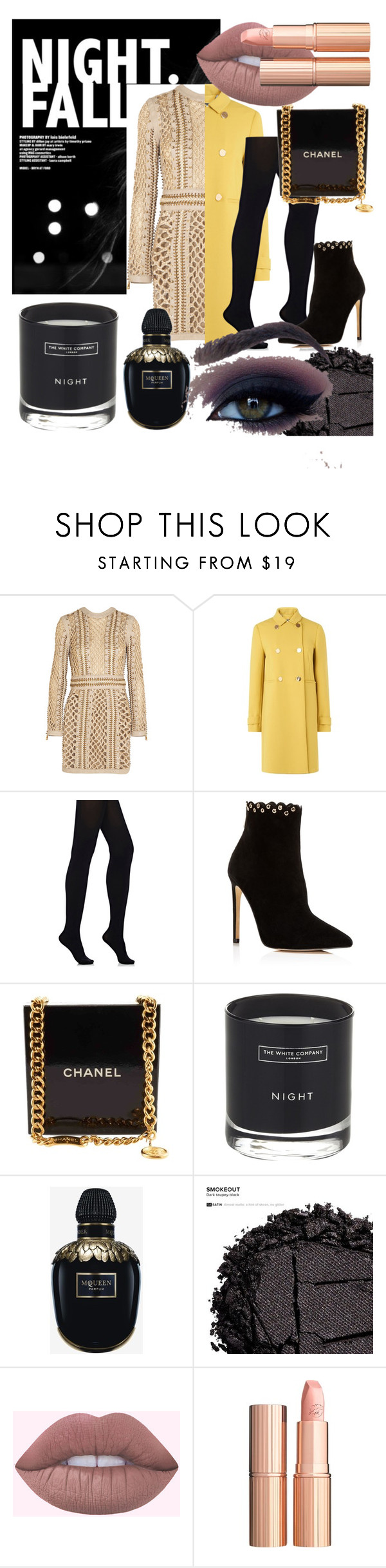 """Dressy winter"" by ninasater ❤ liked on Polyvore featuring Balmain, L.K.Bennett, Wolford, Raye, Chanel, The White Company, Alexander McQueen, Urban Decay and Charlotte Tilbury"