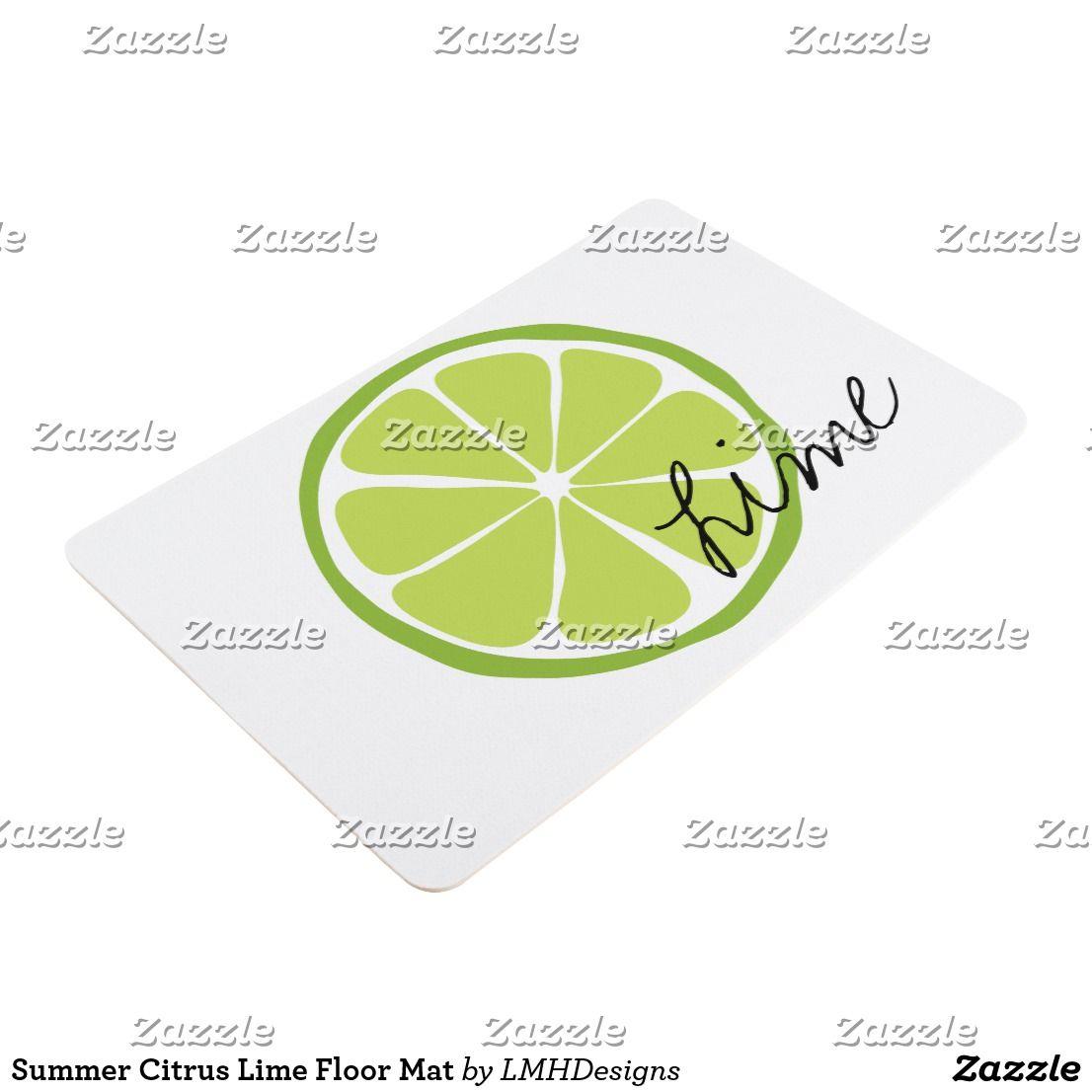Summer Citrus Lime Floor Mat Zazzle Com Lime Green Kitchen Flooring Floor Mats