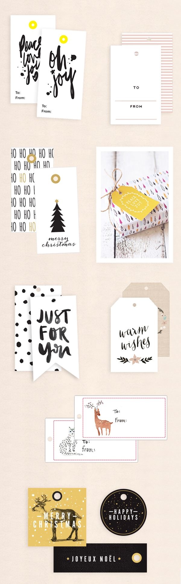 Free printable holiday gift tags roundup || Oh the Lovely Things
