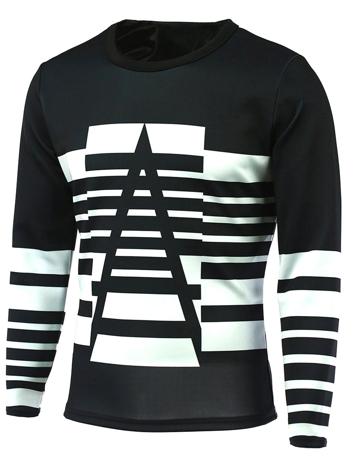 Striped Round Neck Long Sleeve T-Shirt | Turtleneck t ...