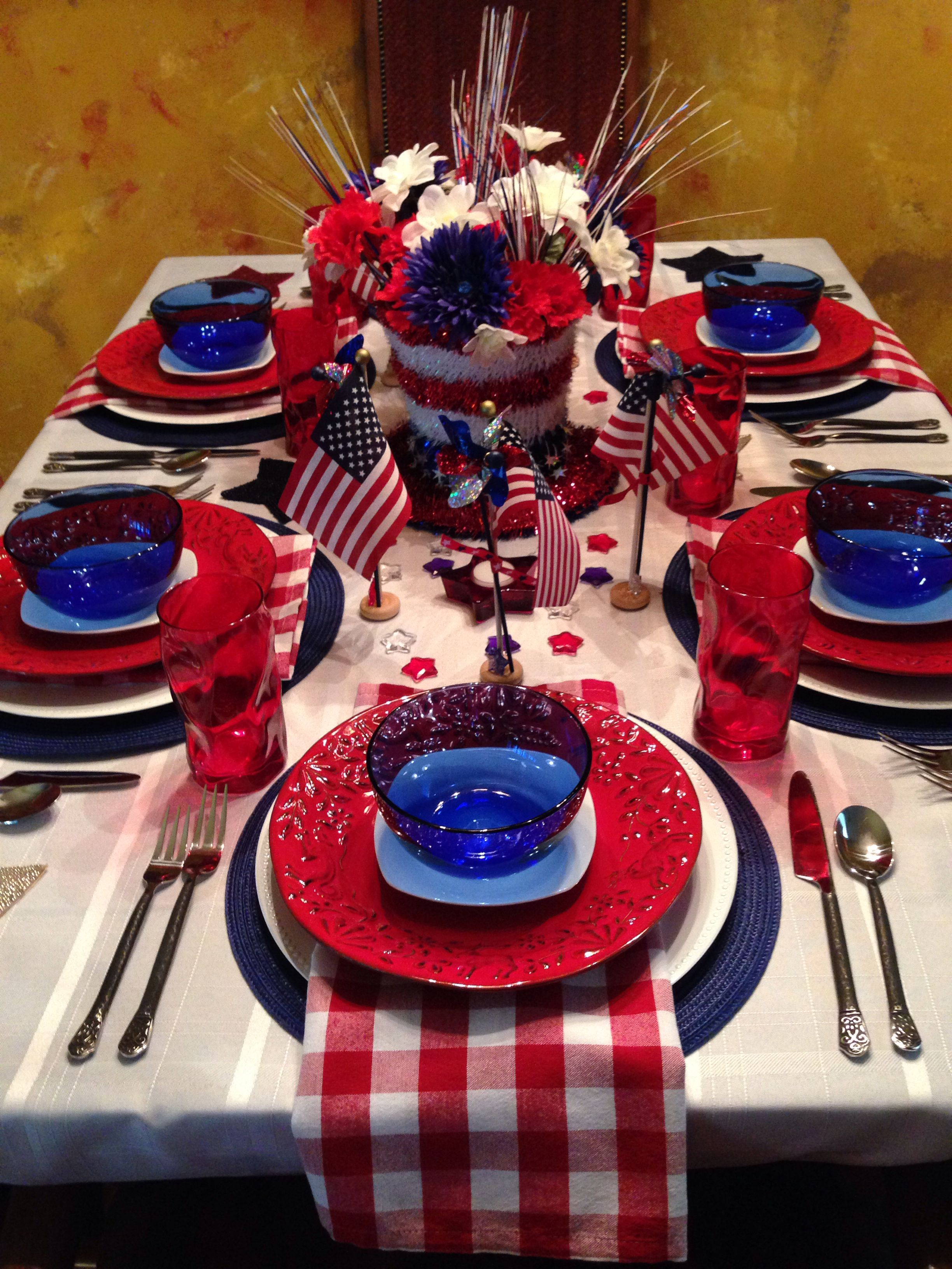 2014 4th of July dining room tablescape. I needed a topper for my plates and found these great blue bowls at Walmart. Will be great for the fruit salad.  Picture 1 of 2.