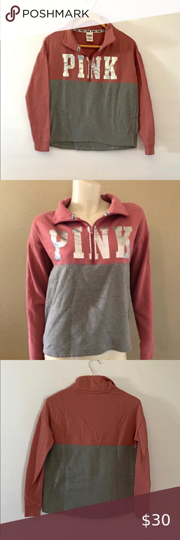 PINK 1/4 zip sweatshirt color block silver… PINK 1/4 zip sweatshirt color block silver top Xs  H2 04 PINK 1/4 zip sweatshirt, color block, mauve pin…