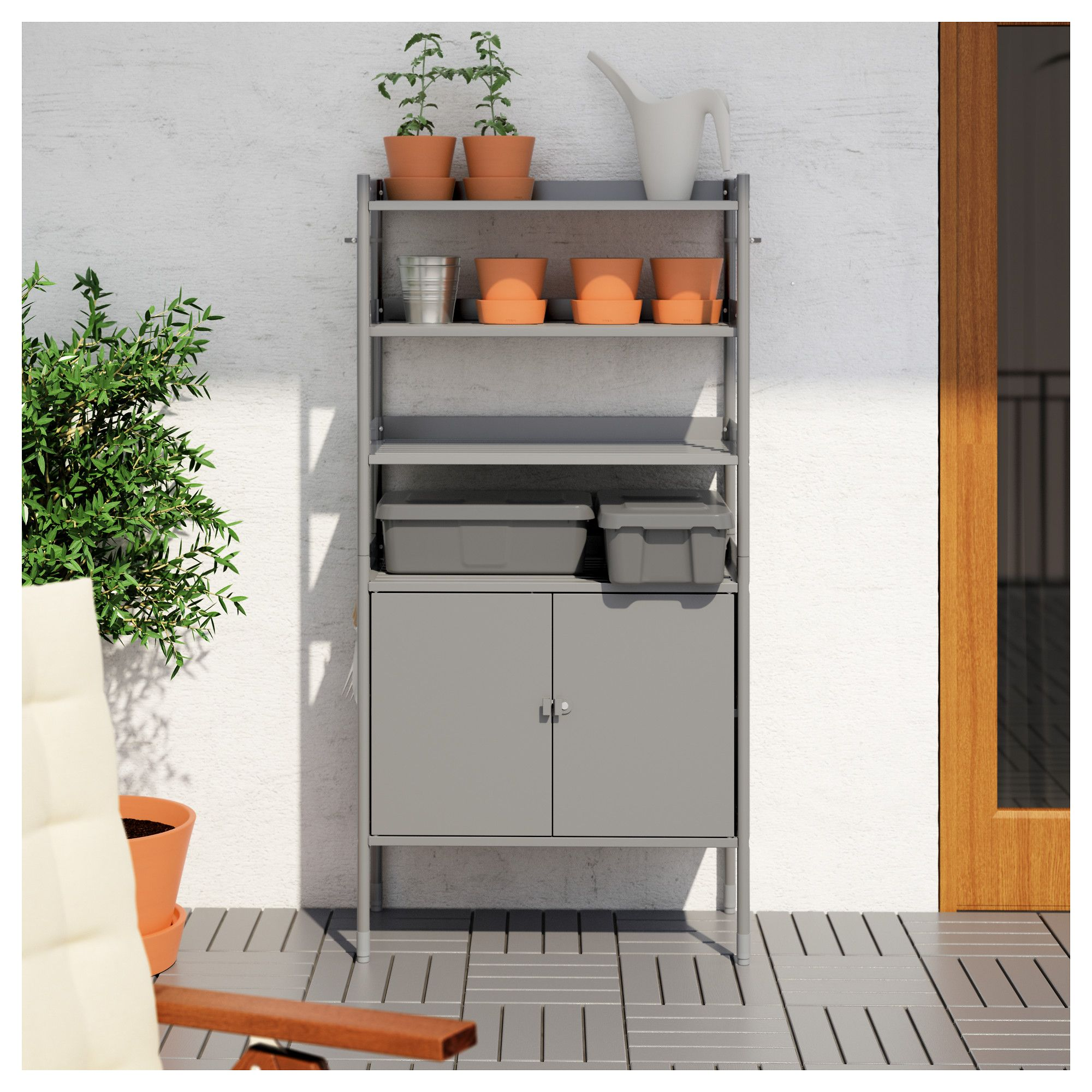 Hind Cabinet W Shelving Unit In Outdoor Grey 78×158 Cm Shelving  # Ikea Odda A Roulette
