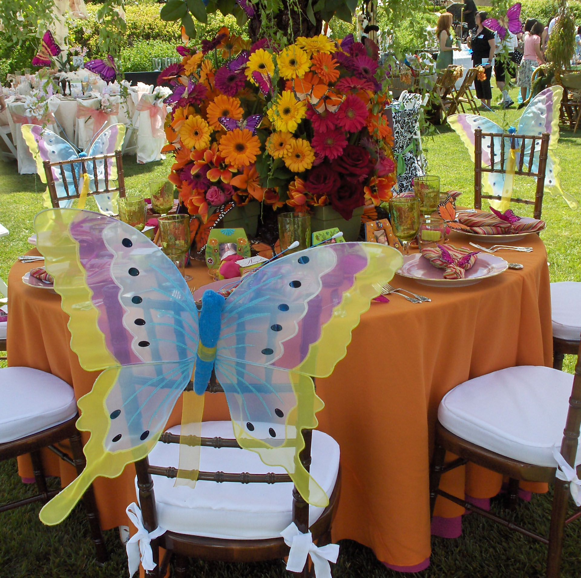 Butterfly chairs with bold orange and pink flowers pink