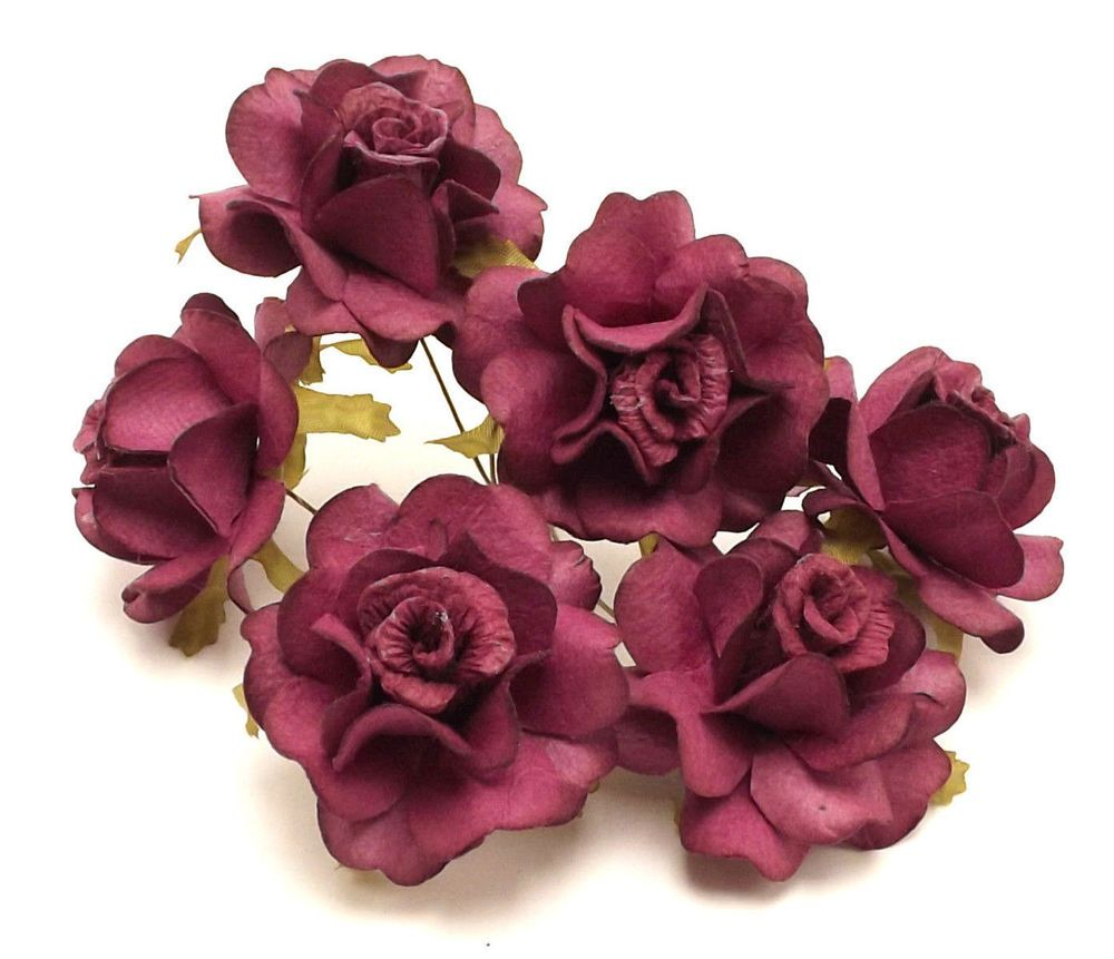 Burgundy Roses Parchment Paper Millinery Dolls Crafts Flower Crowns