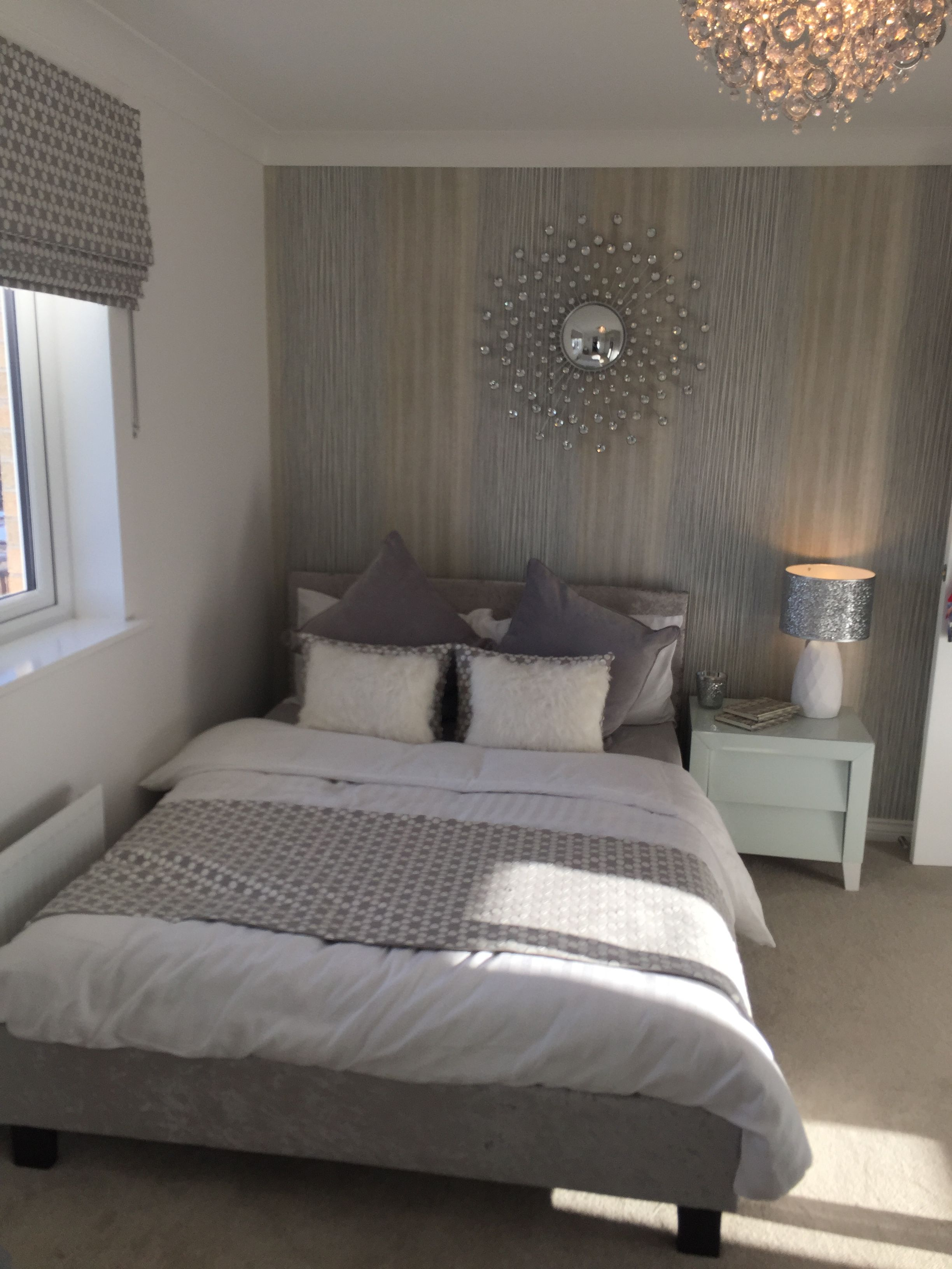 simple grey bedroom feature wall paper  feature wall