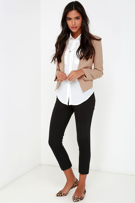 Cute Business Casual Work Outfit With White Shirt Black Pants And Flat Animal Print Shoes