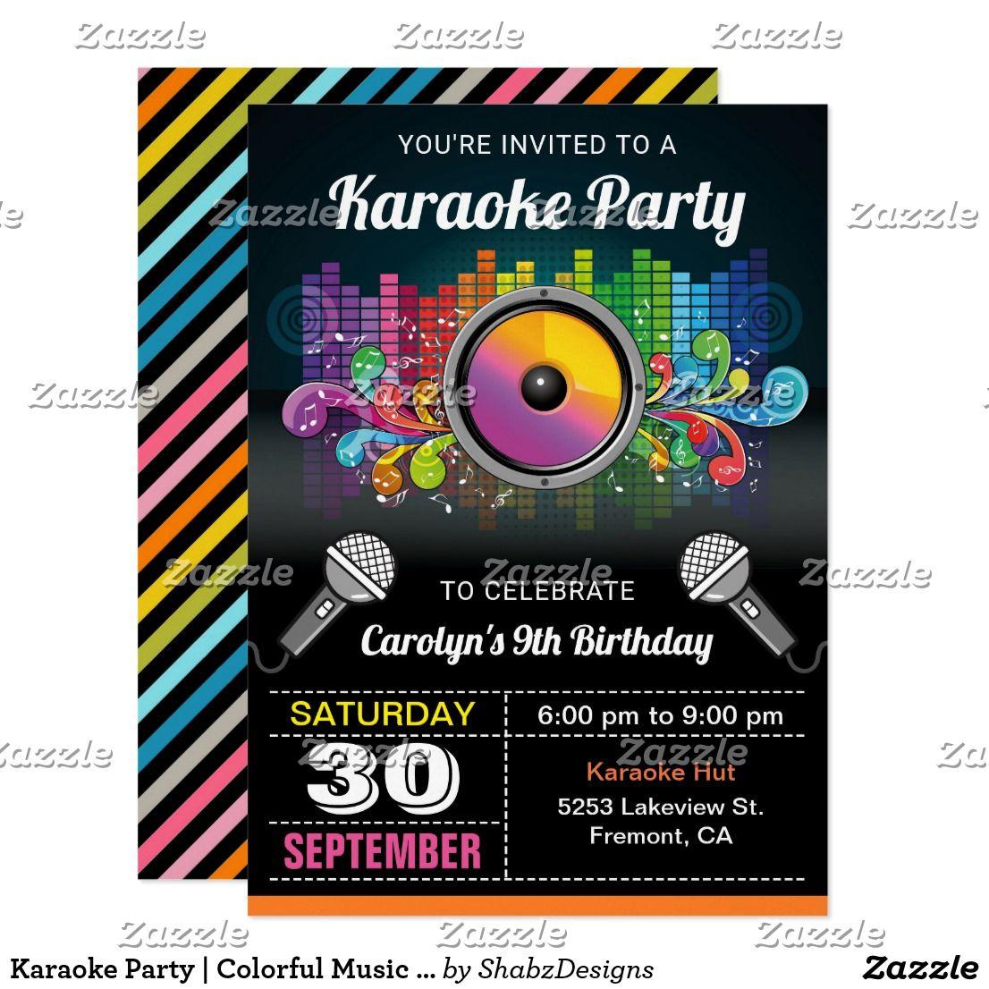 Karaoke party colorful music birthday invitation karaoke party karaoke party colorful music birthday invitation monicamarmolfo Image collections