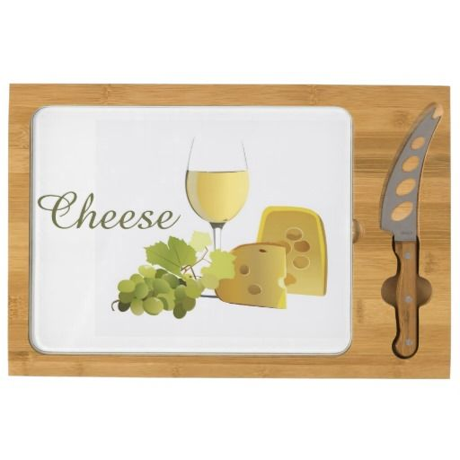 Wine and Cheese Design Rectangular Cheese Board