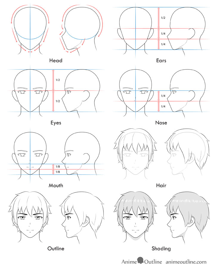 How To Draw Anime And Manga Male Head And Face Anime Male Face Anime Head Guy Drawing