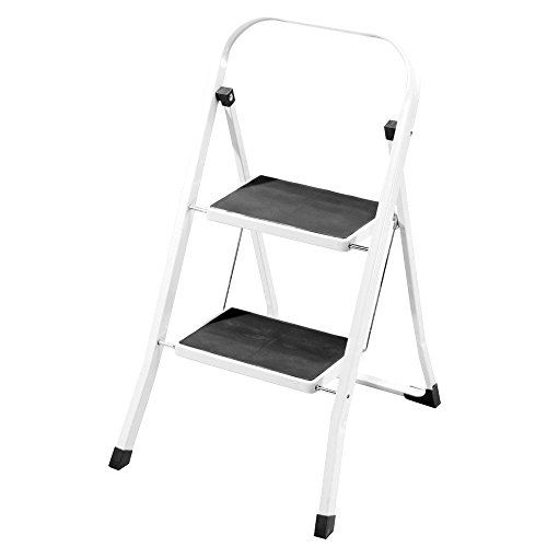 CrazyGadget 2 Step Ladder Safety Non Slip Mat Heavy Duty Steel Folding  Portable Kitchen Stool Home