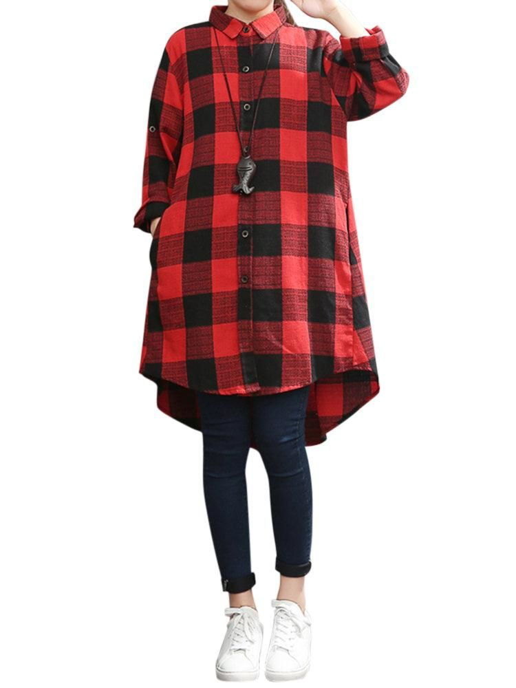 4f1a5ce02cf Loose Plus Size Plaid Lapel Long Sleeve High Low Shirt For Women in ...