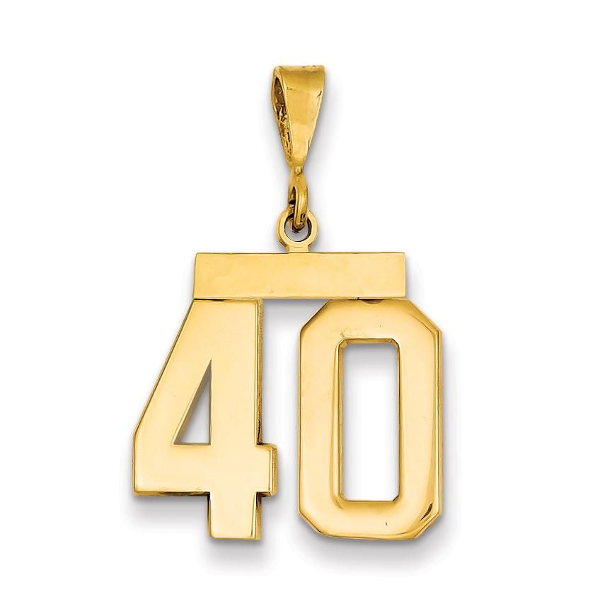 14K Yellow Gold Small Satin Number 40 Charm