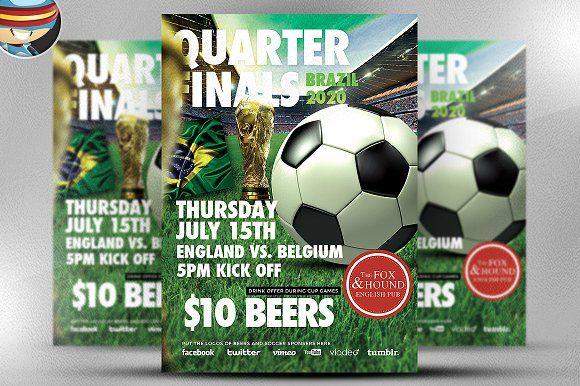 Soccer Flyer Template By Flyerheroes On Creativemarket  Flyers