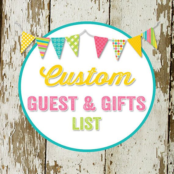 GUEST and GIFT LIST to match any design for baby by katiedidesigns, $8.00