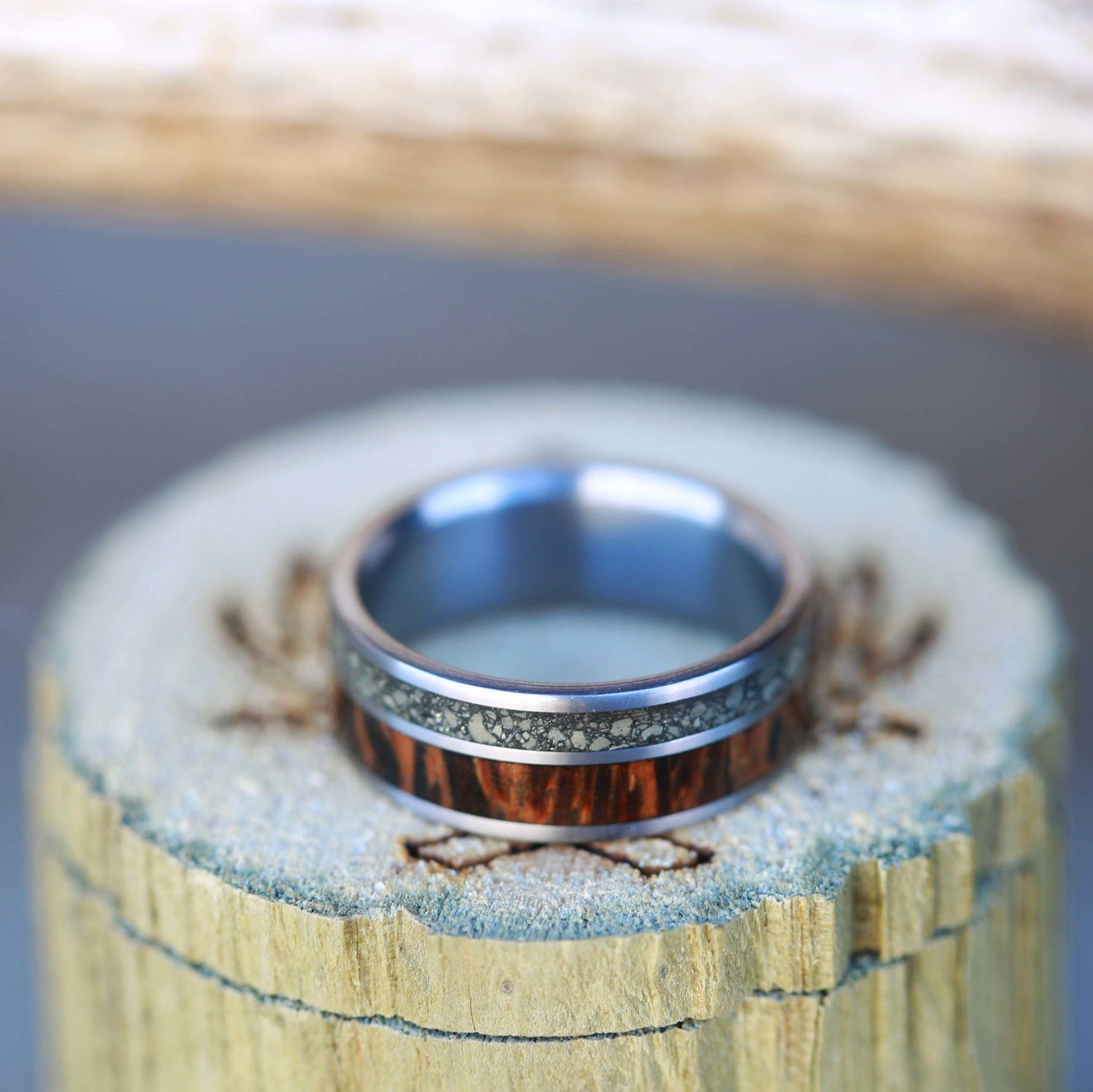 Iron Ore Coconut Wood Wedding Band By Staghead Designs