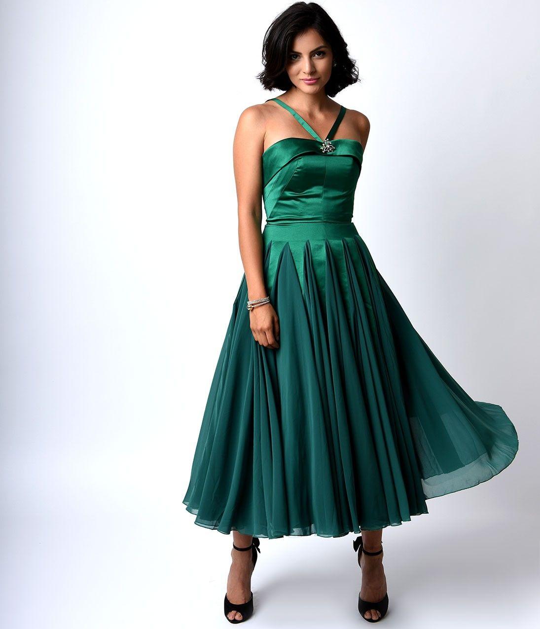 Iconic by UV Emerald Satin & Chiffon Dovima Ballerina Swing Dress ...